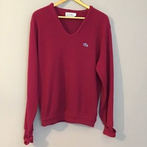 Vintage 1960's Cranberry V Neck Sweater